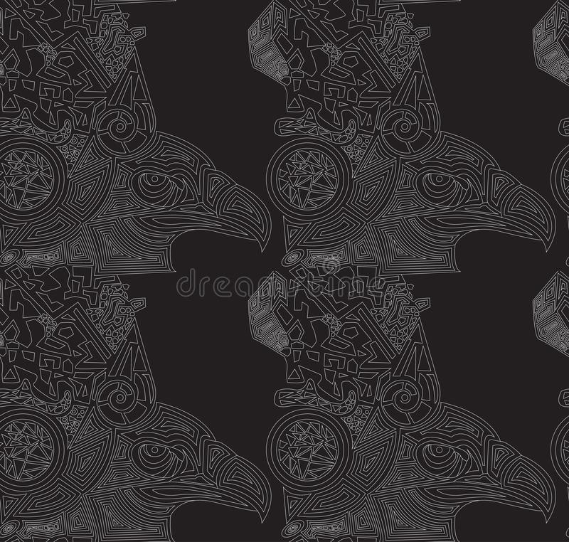 Wektorowy czarny tło z patroszonymi orłami bezszwowa konsystencja ilustracji