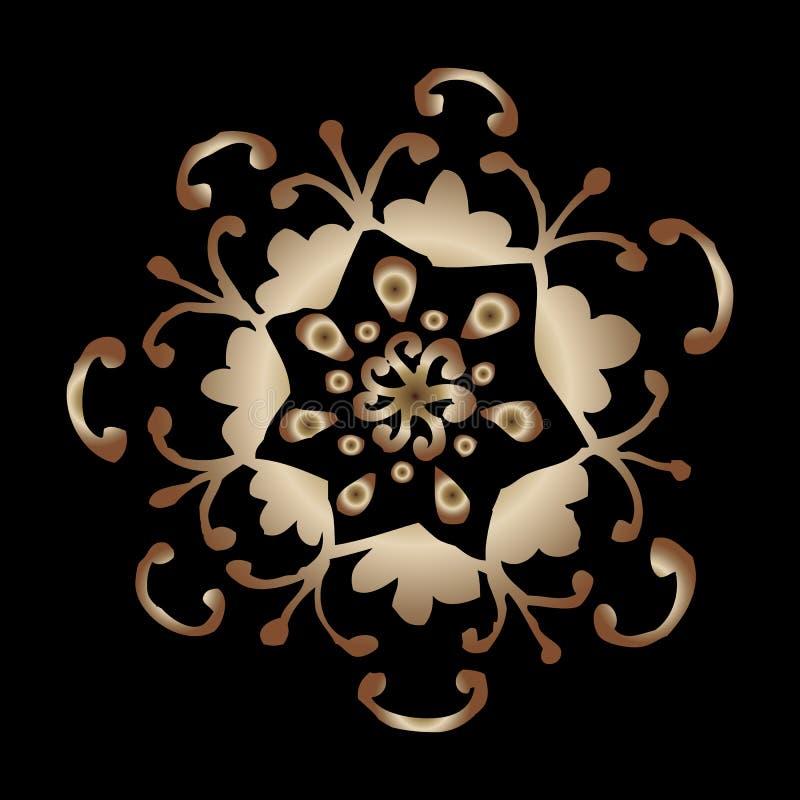 Wektorowy czarny tło z złocistym orientalnym ornamentem ilustracja wektor