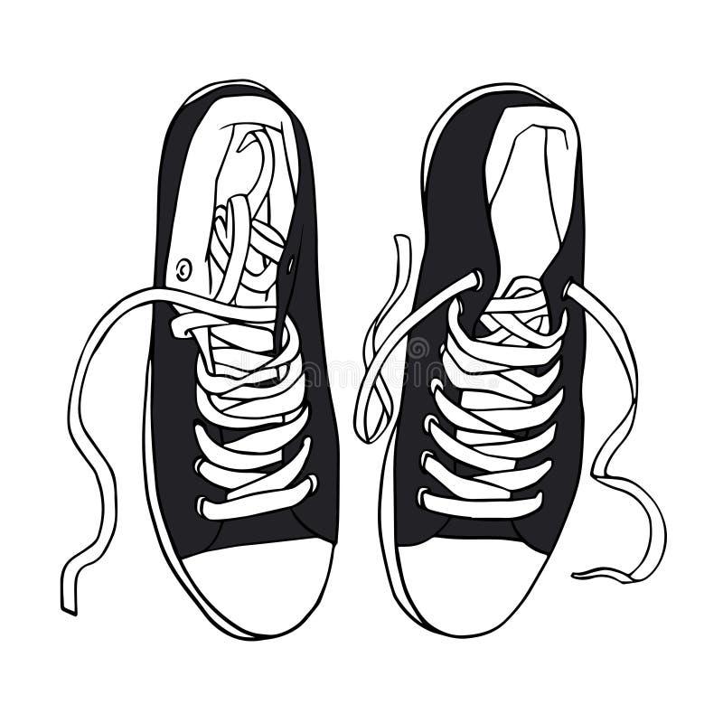 Wektorowy czerń bawi się sneakers z białymi koronkami odizolowywać ilustracji