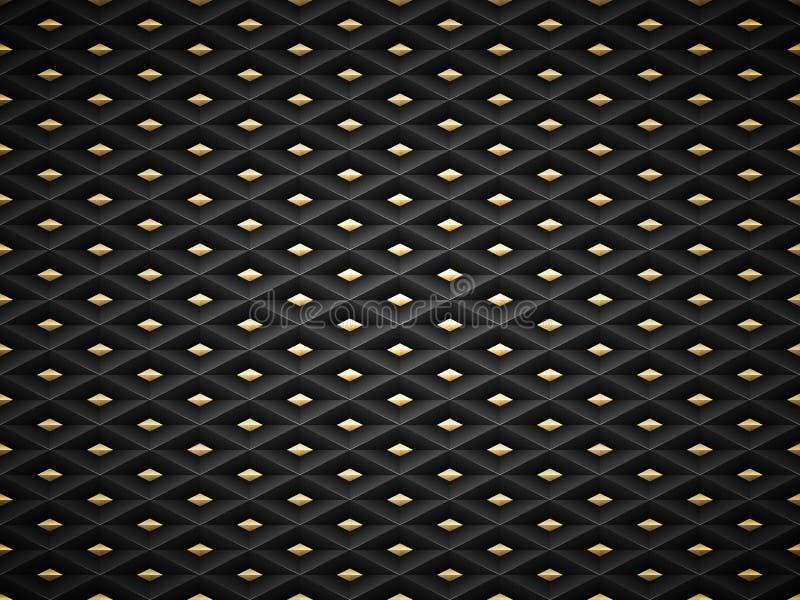 Wektorowy czerń embossed deseniowego plastikowego siatki tło z złotym wszywka elementem Technologia kształta komórki diamentowy z ilustracja wektor