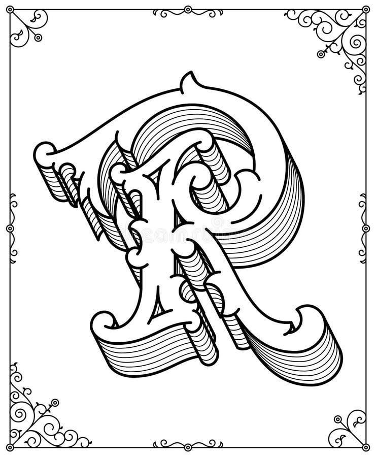 Wektorowy czerń na bielu liście R ilustracji