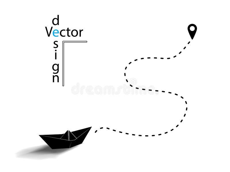Wektorowy czerń papieru origami statek lub łódź sylwetka Kropkowana linia pojęcie podróży lokacja na mapy szpilce odosobniony ilustracja wektor