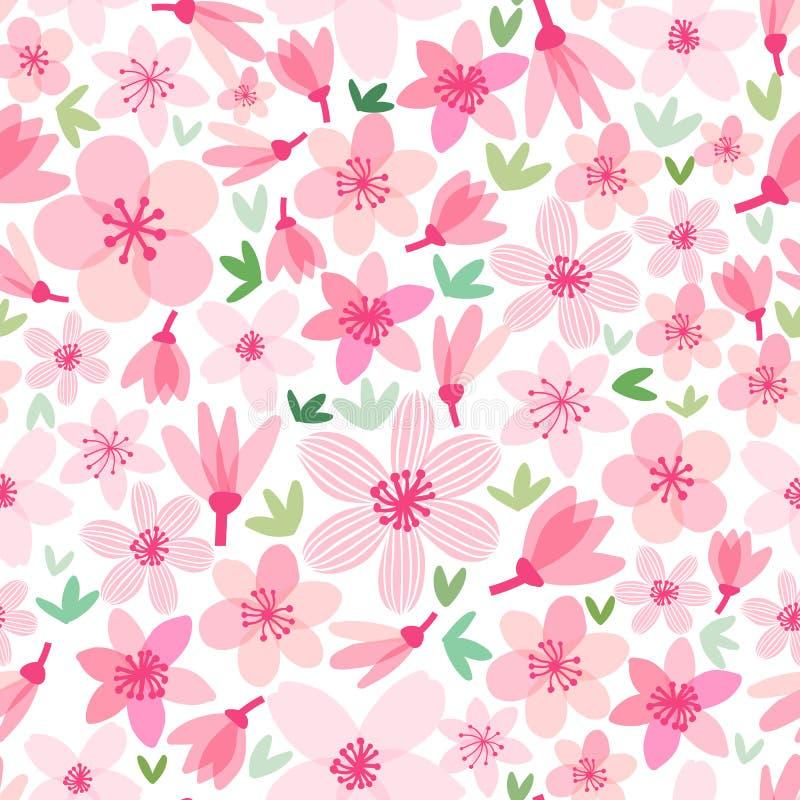 Wektorowy czereśniowego okwitnięcia bezszwowy wzór Sakura tło ilustracji