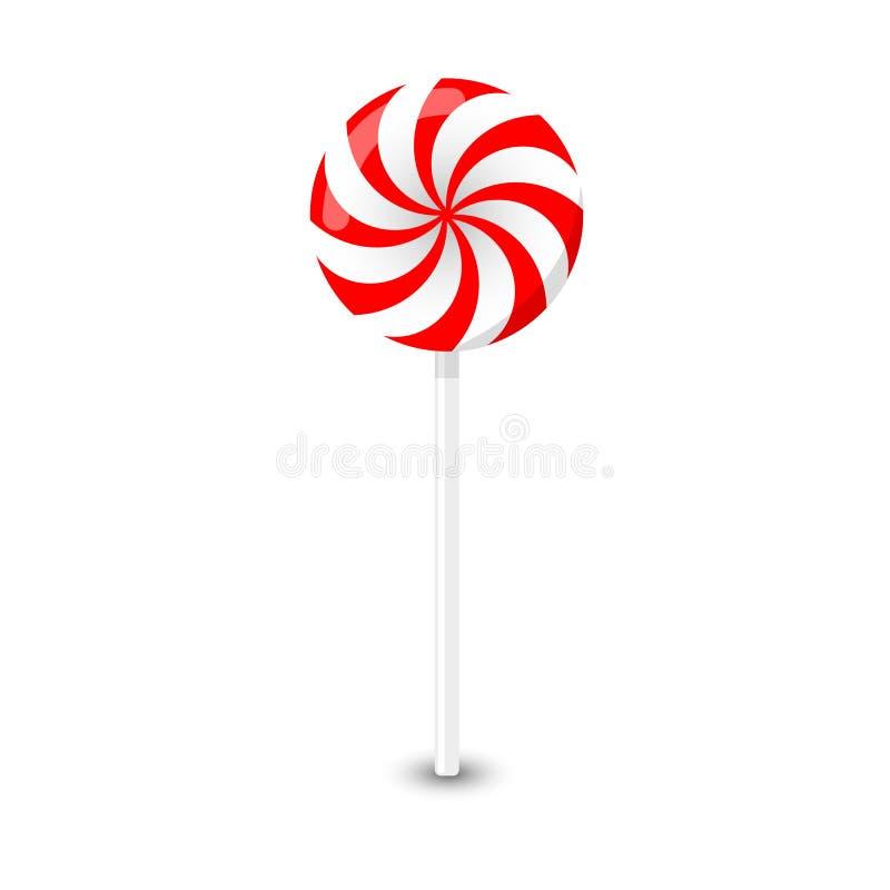 Wektorowy czerwieni i bielu round lizak na białym tle ilustracji