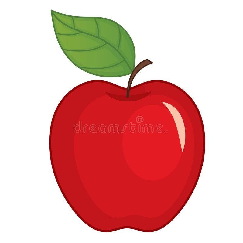 Wektorowy Czerwony Apple z liściem ilustracja wektor