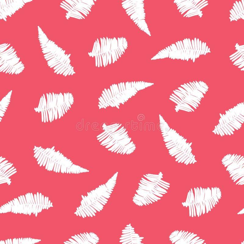Wektorowy czerwony bezszwowy wzór z paprociowymi liśćmi Stosowny dla tkaniny, prezenta opakunku i tapety, ilustracja wektor