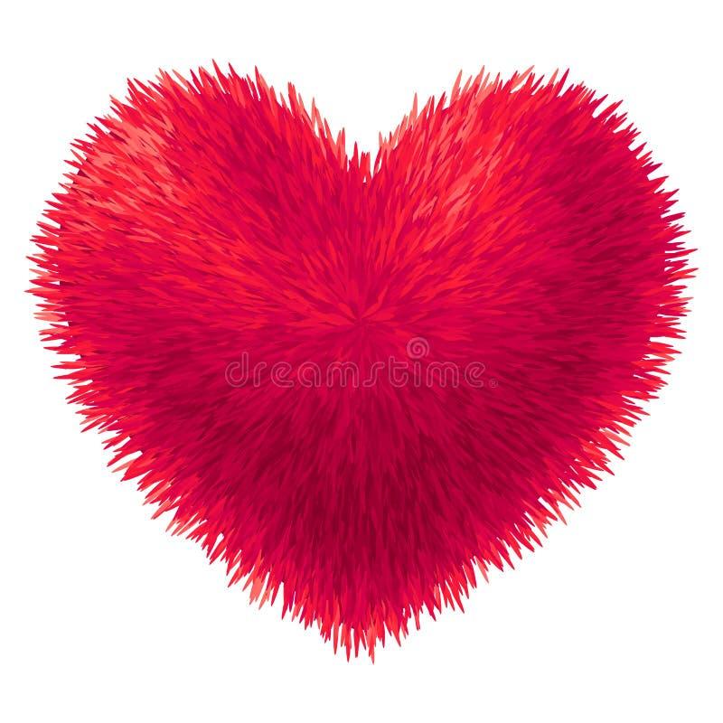 Wektorowy czerwony futerkowy serce odizolowywający na białym tle ilustracji