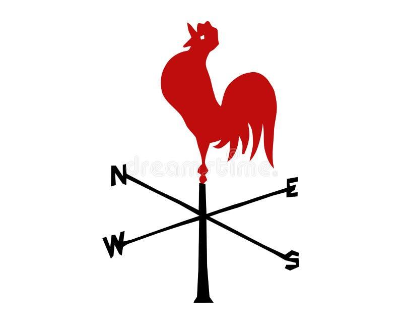 Wektorowy czerwony kogut Emblemat nowy rok według Chińskiego kalendarza Wizerunek symbolu zodiak ilustracji