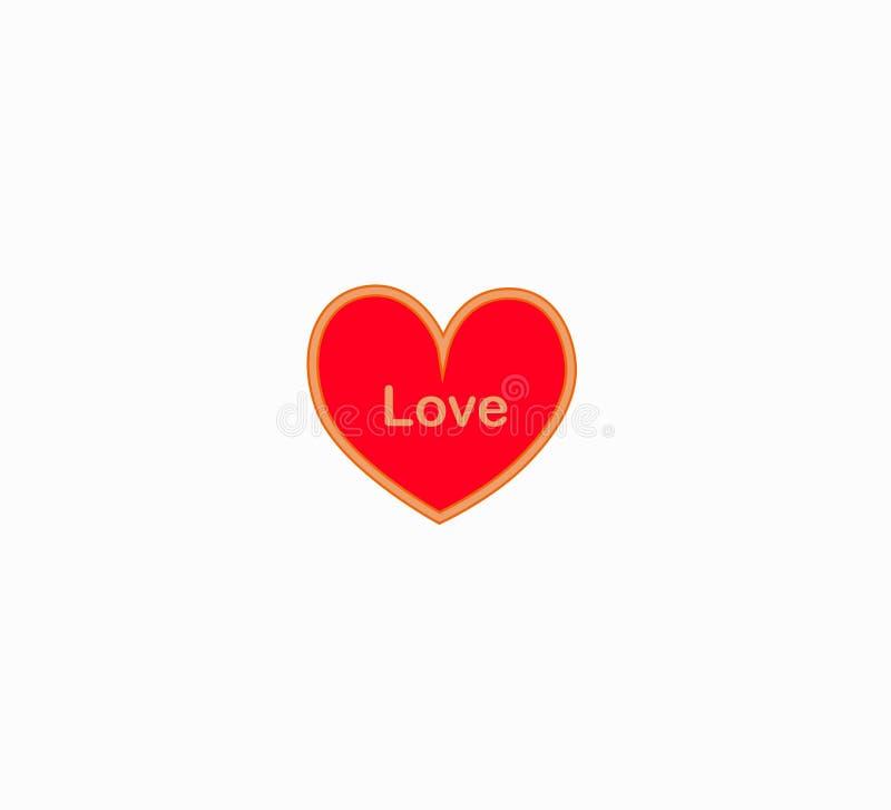 Wektorowy czerwony serce odizolowywał - Szczęśliwego walentynka dzień ilustracja wektor