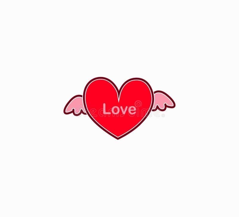 Wektorowy czerwony serce z skrzydłami odizolowywającymi ilustracja wektor