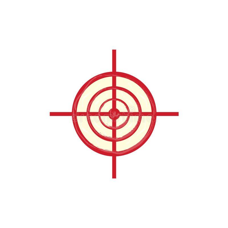 Wektorowy czerwony snajperski zakresu cel, cel ikona royalty ilustracja