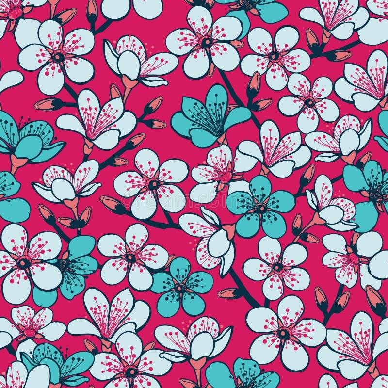 Wektorowy czerwony tło z jasnopopielatym i cyan czereśniowym okwitnięciem Sakura kwitnie i zmrok - błękitnych trzonów bezszwowy d ilustracji