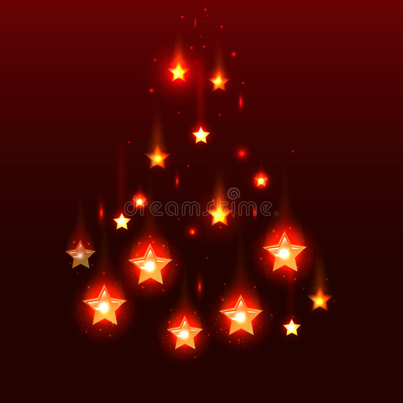 Wektorowy czerwony tło z spada gwiazdami ilustracja wektor