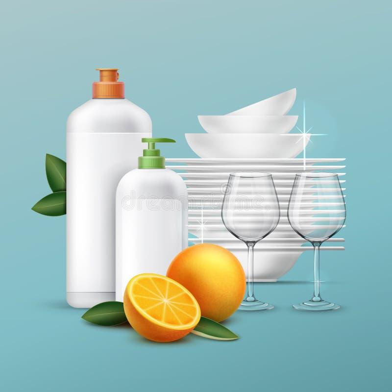 Wektorowy czyści naczynia ilustracji