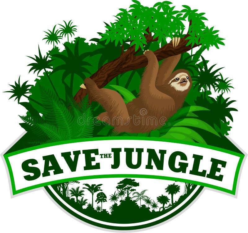 Wektorowy dżungla emblemat z opieszałością ilustracja wektor