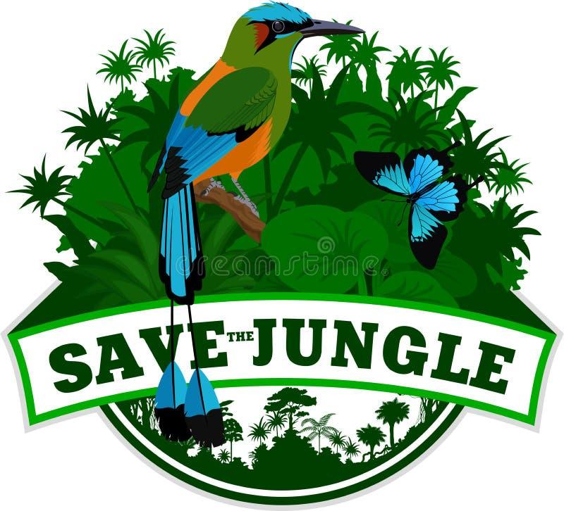 Wektorowy dżungla emblemat z Turkusowym browed Motmot i motylem ilustracja wektor