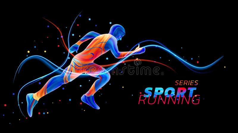 Wektorowy 3d biegacz z neonowymi lekkimi liniami na czarnym tle z kolorowymi punktami Ciekły projekt z barwionym ilustracji