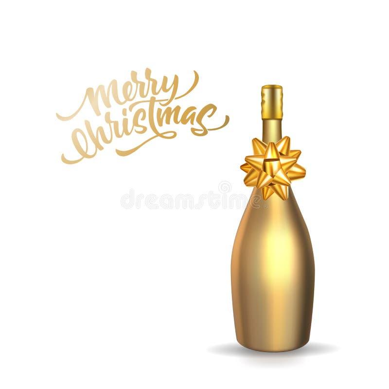 Wektorowy 3d butelki bożych narodzeń złocisty szampański typ royalty ilustracja