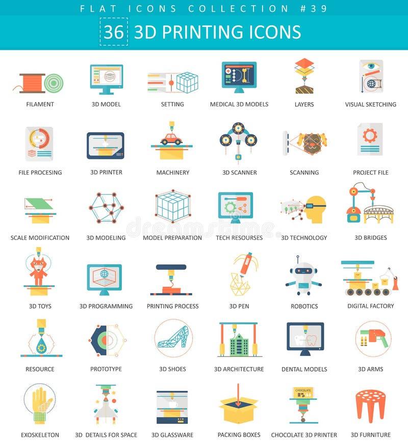 Wektorowy 3D ikony drukowy płaski set Eleganckiego stylu projekt royalty ilustracja