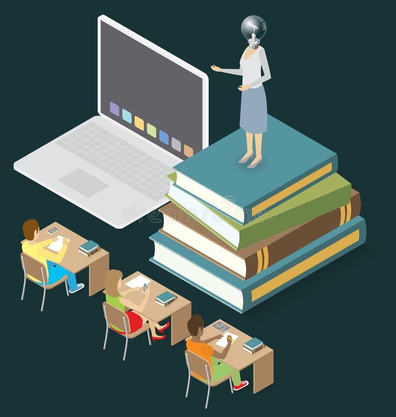 Download Wektorowy 3d Płaski Isometric Z Edukaci Pojęciem Ilustracja Wektor - Ilustracja złożonej z nowożytny, krzesło: 57655739