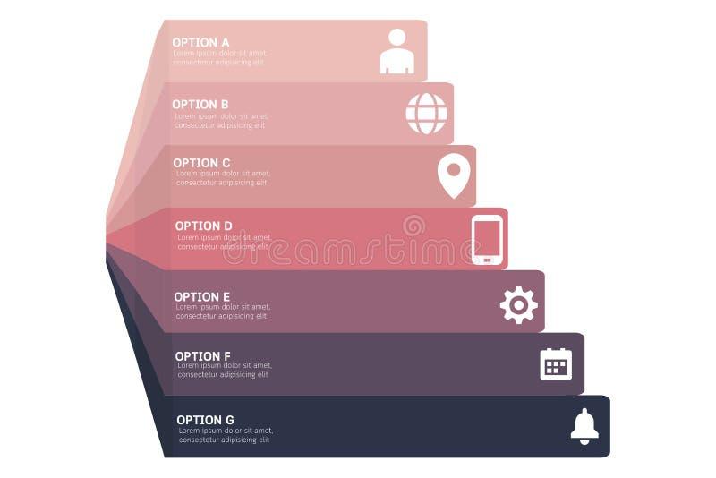 Wektorowy 3d perspektywiczny infographic, diagram mapa, wykres prezentaci szablon Komunikacyjny infographics pojęcie z A-G opcjam ilustracja wektor