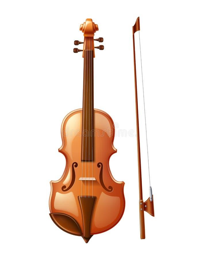 Wektorowy 3d skrzypce z skrzypki kijem dla muzyki ilustracji