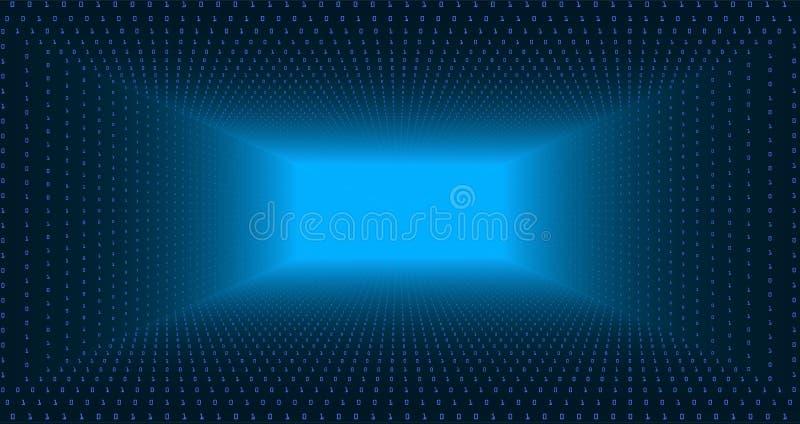 Wektorowy dane spływowy unaocznienie Trójboka tunel błękitny duży dane przepływ jako binarne liczby zawiązuje Ewidencyjny kod royalty ilustracja