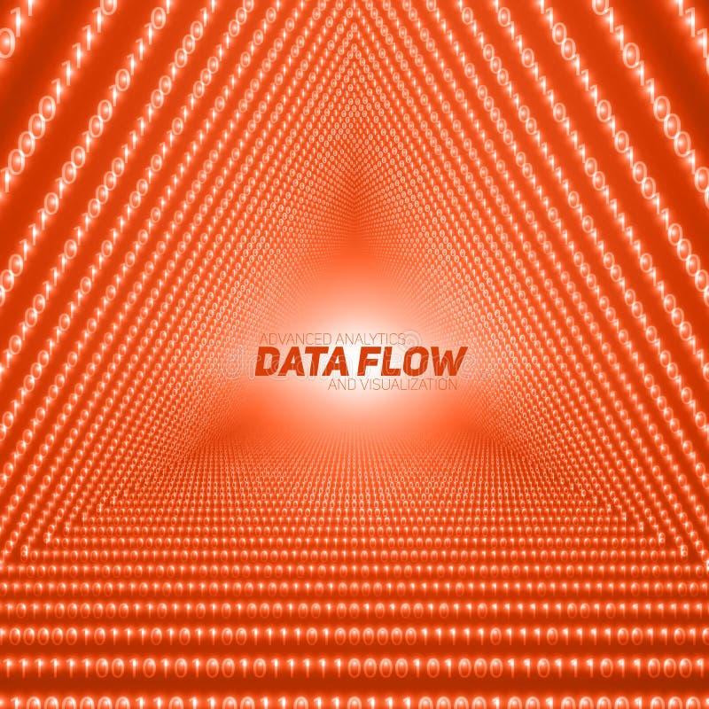 Wektorowy dane spływowy unaocznienie Trójboka tunel czerwony duży dane przepływ jako binarne liczby zawiązuje ilustracji