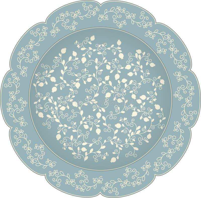 Wektorowy dekoracyjny ceramiczny lub porcelana talerz z round ornamentem w etnicznym orientalnym stylu Abstrakcjonistyczny kwieci ilustracji