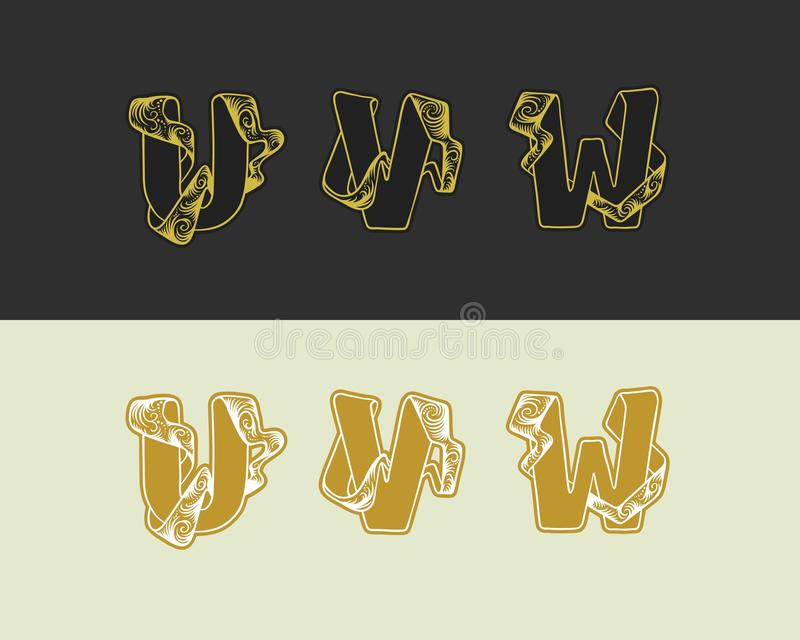 Wektorowy dekoracyjny nakreślenia abecadło ustawiający uppercase listy Złocisty elegancki list U, V, W Chrzcielnica łączyć fabork ilustracji