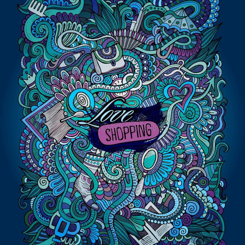 Wektorowy dekoracyjny projekt karty miłości robić zakupy ilustracji