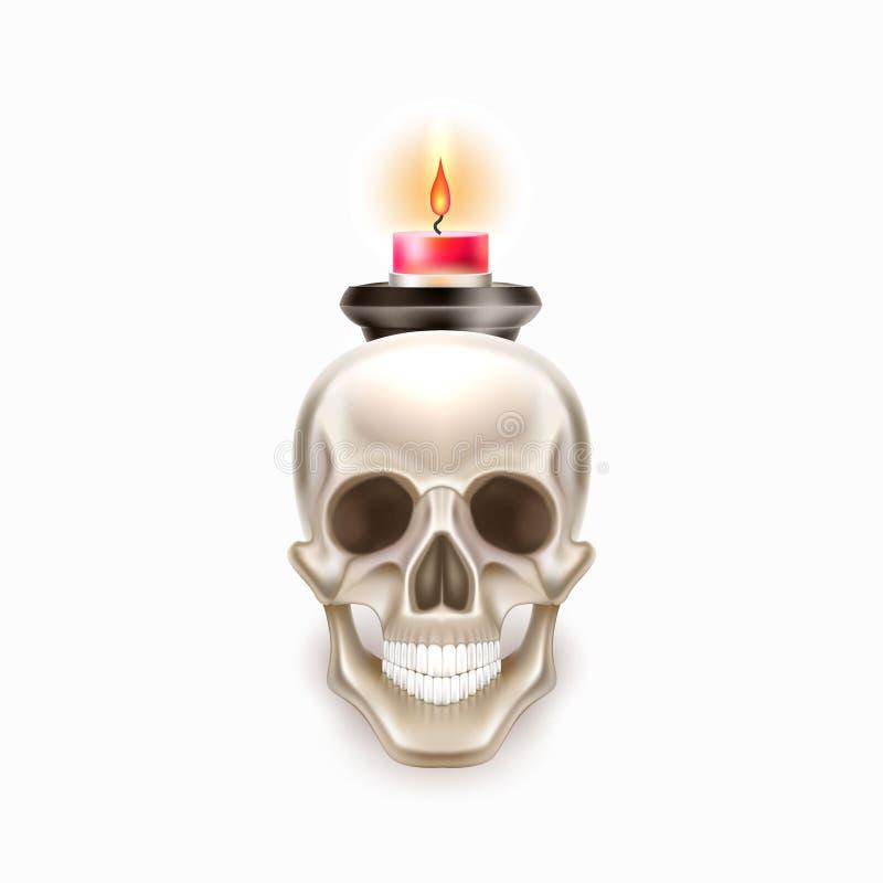 Wektorowy Dia De Los Muertos dzień nieżywa czaszki świeczka royalty ilustracja