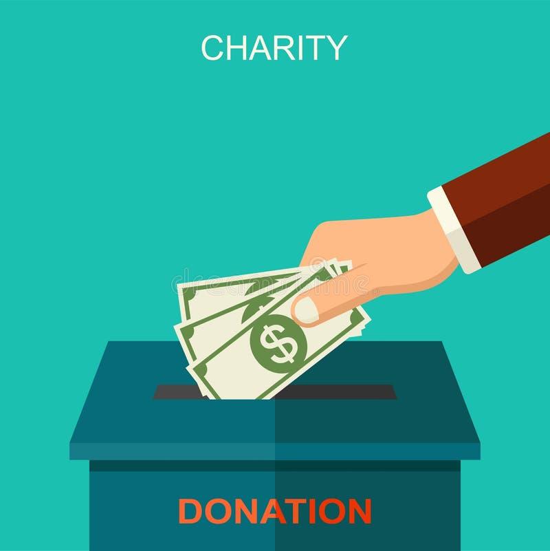 Wektorowy dobroczynności i darowizny pojęcie Sztandar ilustracja z ogólnospołecznymi ikonami i symbolami dobroczynności i darowiz ilustracji