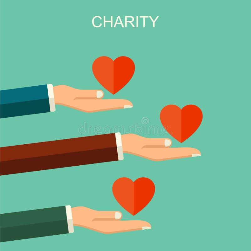 Wektorowy dobroczynności i darowizny pojęcie Sztandar ilustracja z ogólnospołecznymi ikonami i symbolami dobroczynności i darowiz ilustracja wektor