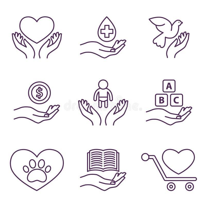 Wektorowy dobroczynności linii znaków i logów wolontariusz ilustracja wektor
