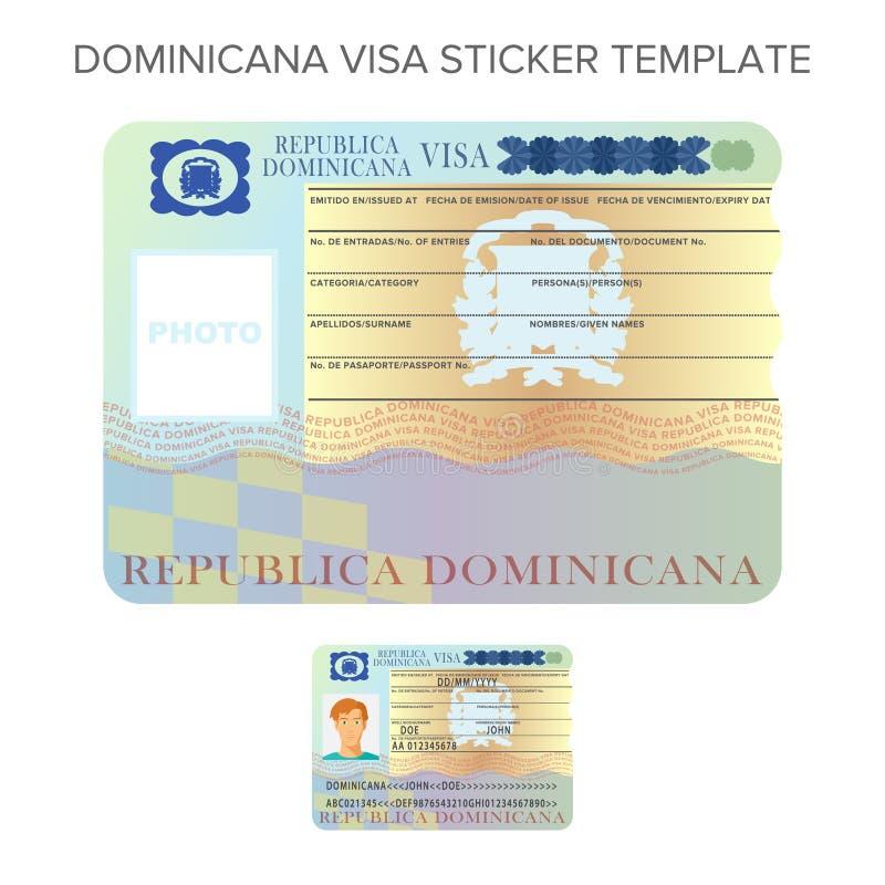 Wektorowy Dominicana międzynarodowy paszportowy wiza majcheru szablon w mieszkanie stylu ilustracji