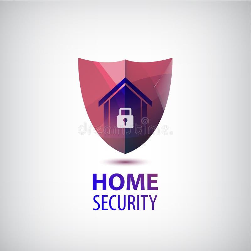 Wektorowy domowej ochrony logo 3d czerwona osłona z domem i kędziorkiem royalty ilustracja