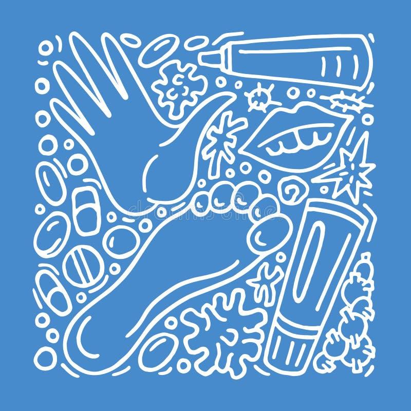 Wektorowy doodle set egzema zdrowy Projekta pojęcie w medycynie ilustracji