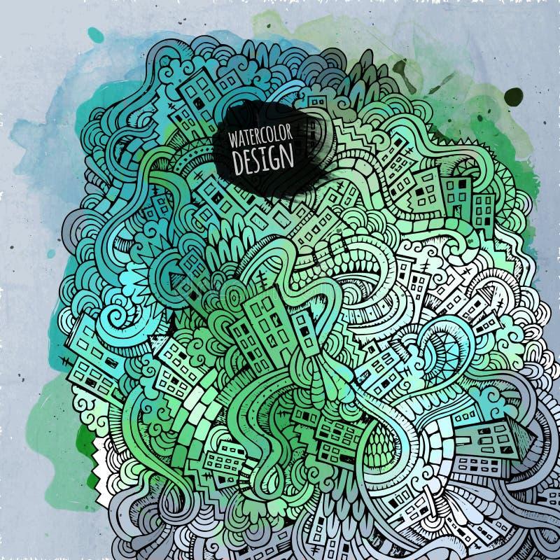 Wektorowy doodles miasta sztuki farby tło ilustracja wektor