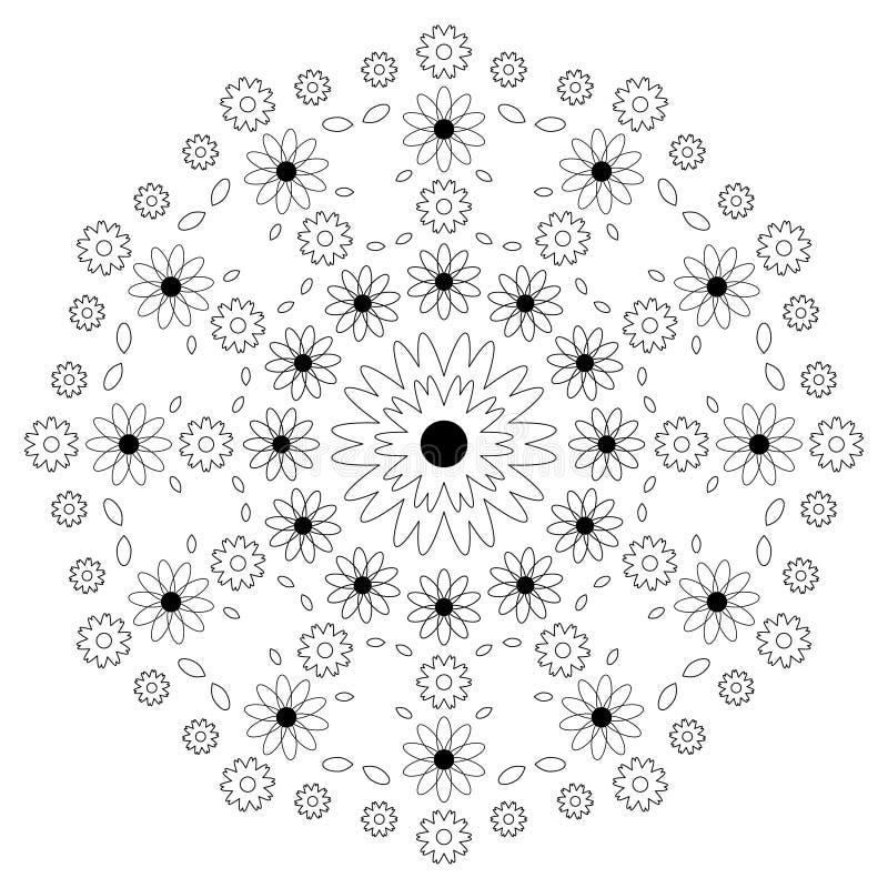 Wektorowy dorosły kolorystyki książki wzoru mandala kwitnie czarny i biały - kwiecisty tło royalty ilustracja