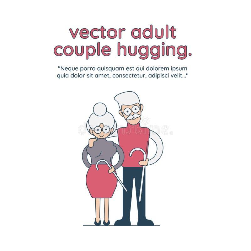 Wektorowy dorosły pary przytulenie Płaska kreskówka odizolowywał ilustrację na białym tle Dorosły mężczyzna i kobieta emracing ea zdjęcie stock