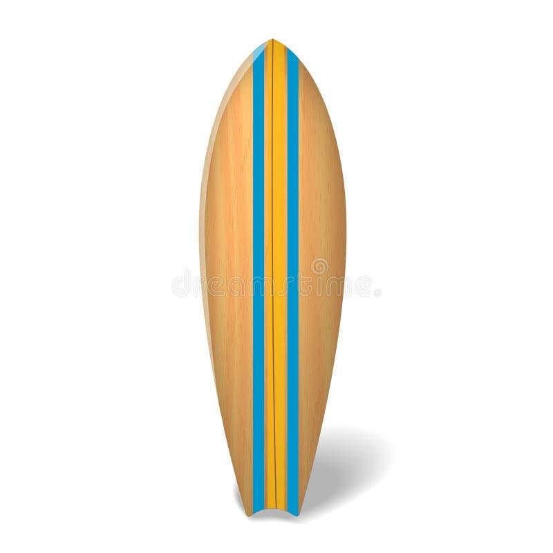 Wektorowy drewniany kipieli deski lata surfing Odizolowywał realistycznego surfboard royalty ilustracja