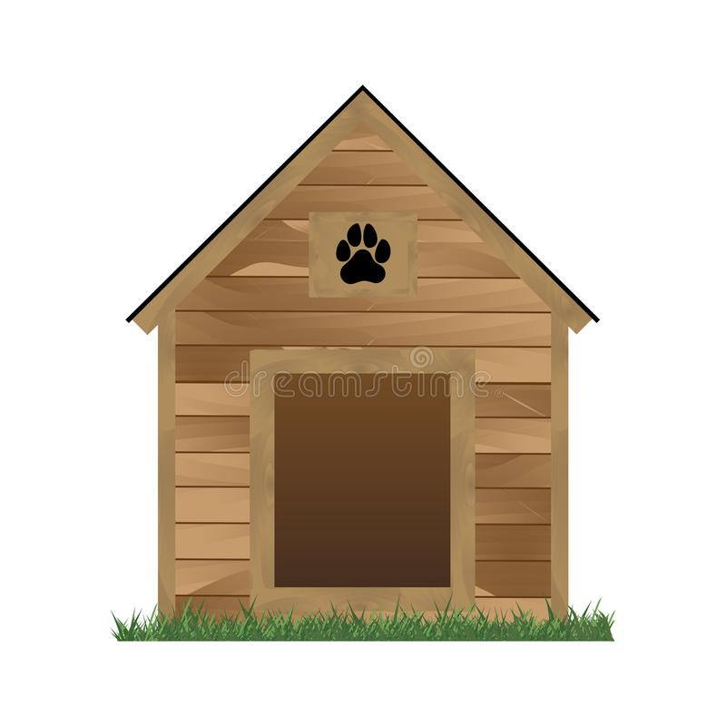 Wektorowy drewniany psi dom odizolowywający na białym tle ilustracji