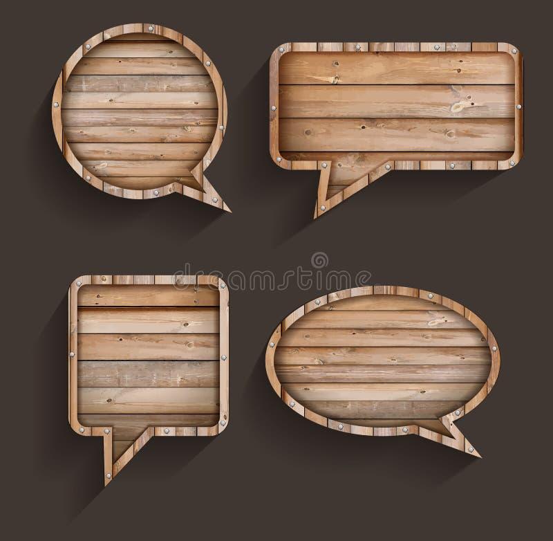 Wektorowy drewno znak mowa bąble ilustracja wektor