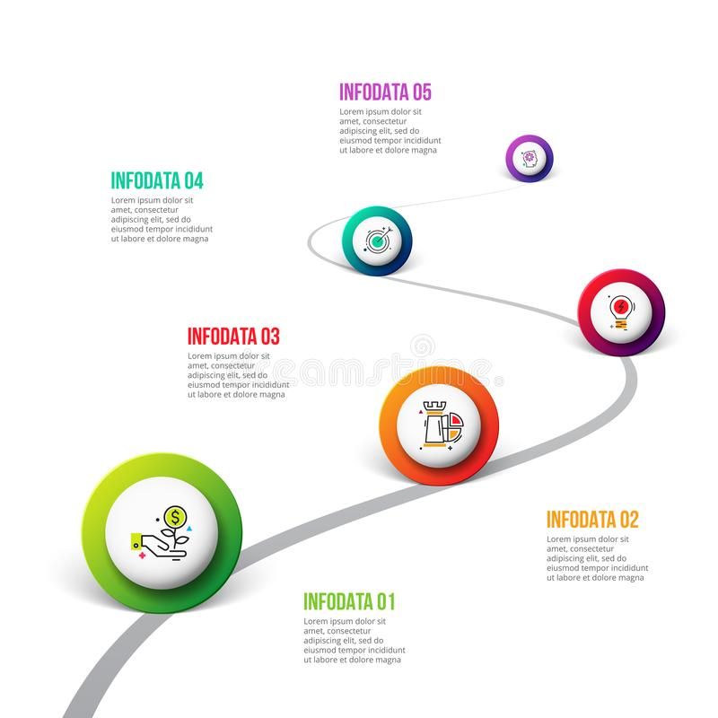 Wektorowy drogowy infographic z okręgami Linia czasu szablon z 5 markierami na wyginającej się drogi linii ilustracji