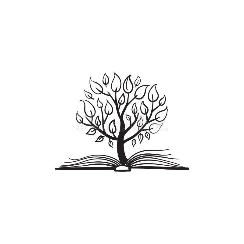 Wektorowy drzewny dorośnięcie książka ilustracji