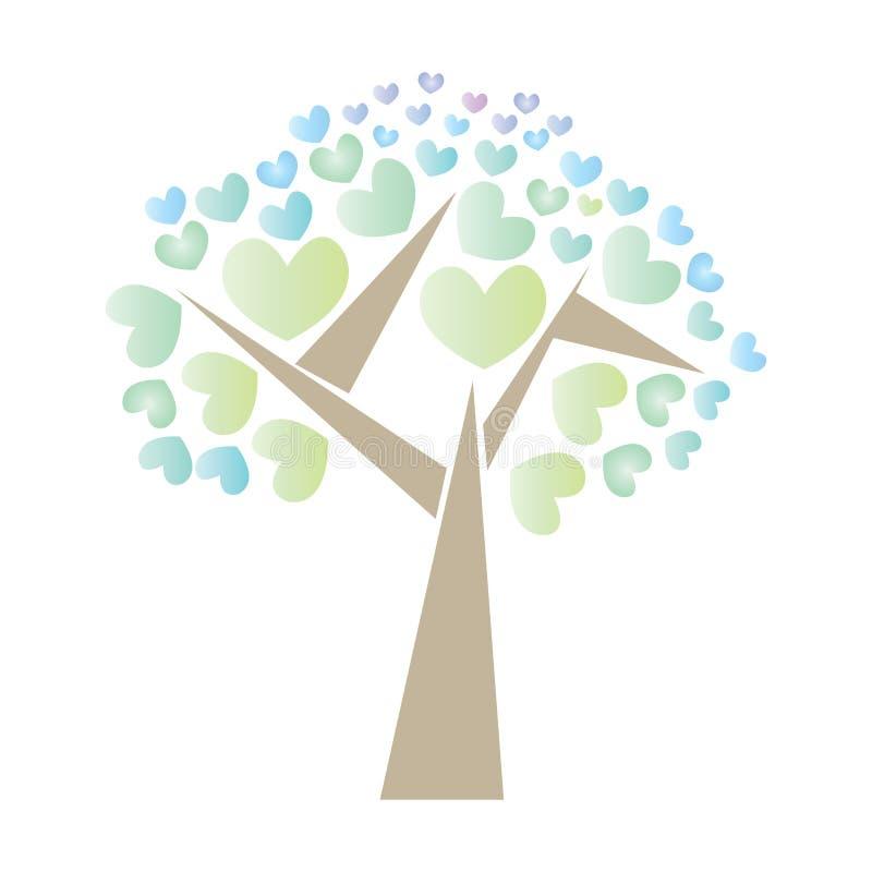 Wektorowy drzewny serce postaci logo ilustracji