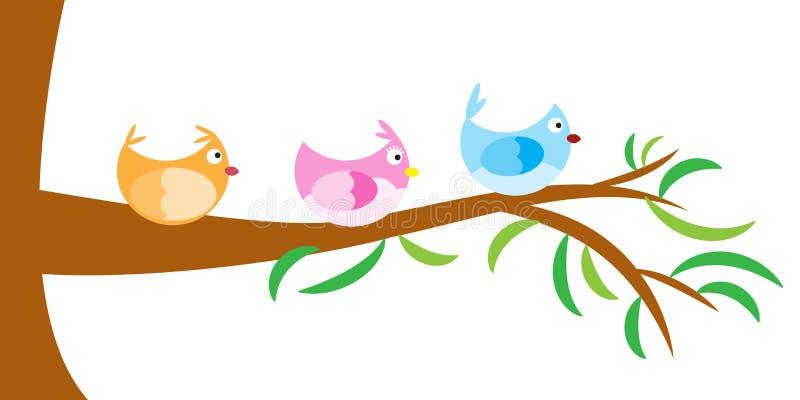 Wektorowy drzewo z ptakiem ilustracji