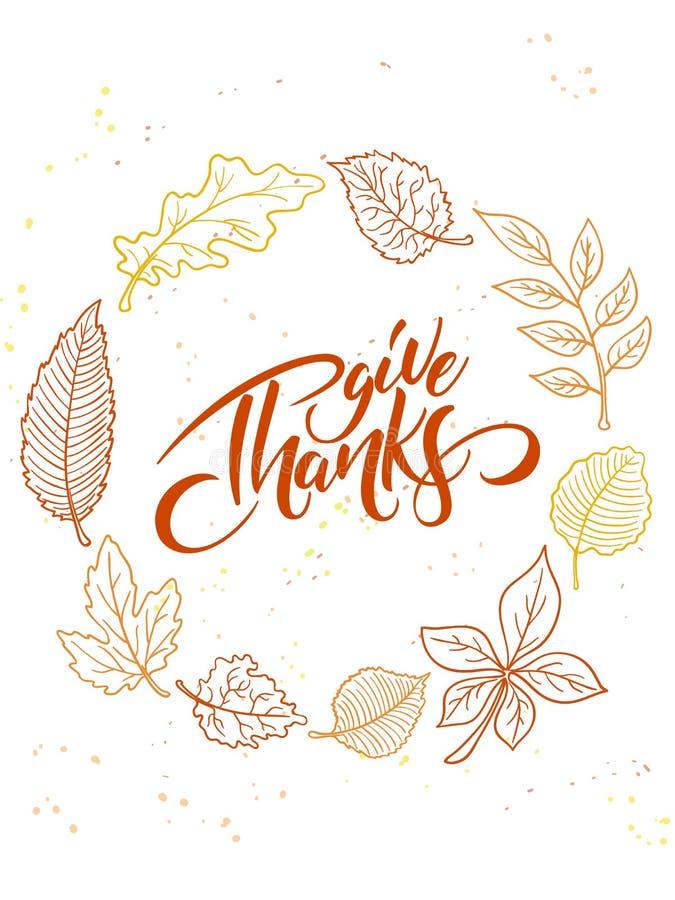 Wektorowy dziękczynienia kartka z pozdrowieniami z ręki literowania etykietką i jesieni doodle opuszcza - szczęśliwy dziękczynien ilustracji