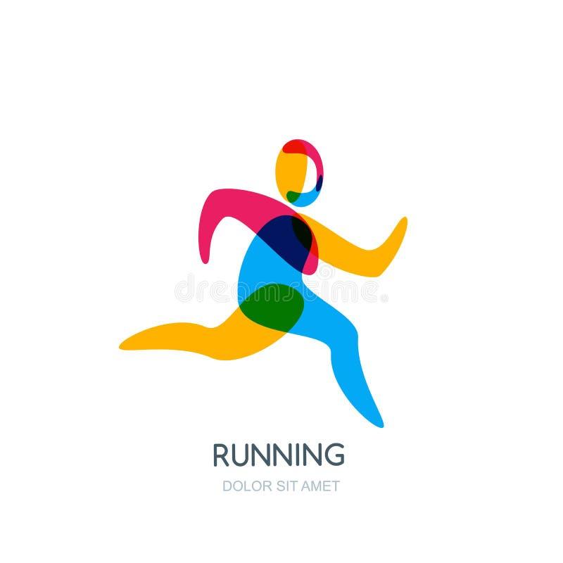 Wektorowy działający ludzki logo, emblemat, ikona lub etykietka odizolowywający projekta element, Sporta mężczyzna pokrywa się il ilustracja wektor